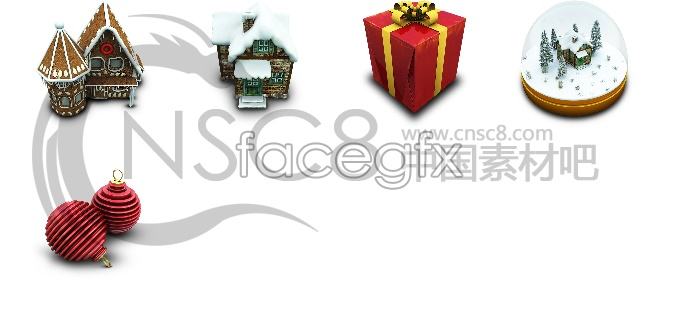 3D Christmas desktop icons