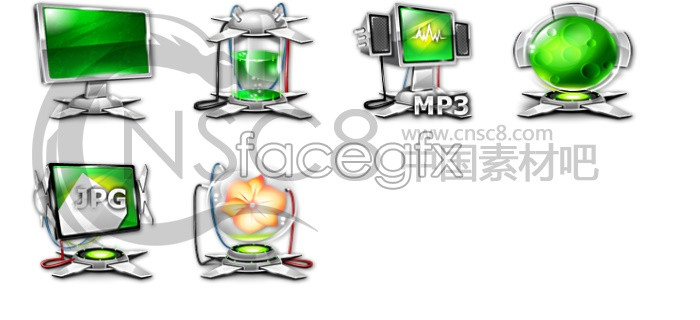 Surrounded by the Green desktop icons