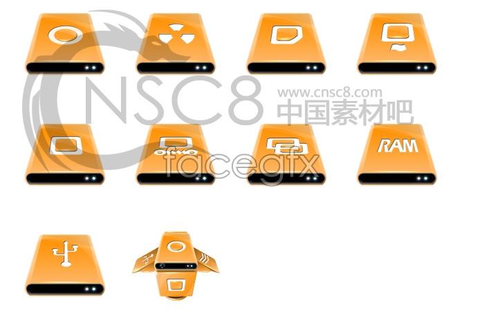 Orange desktop icons