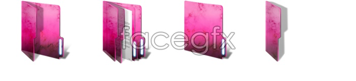 Pink folders desktop icons