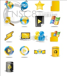 Blue and yellow desktop icon