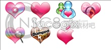 Colorful heart-shaped system icons