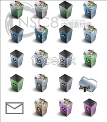 Shaft-shaped trash can series icons