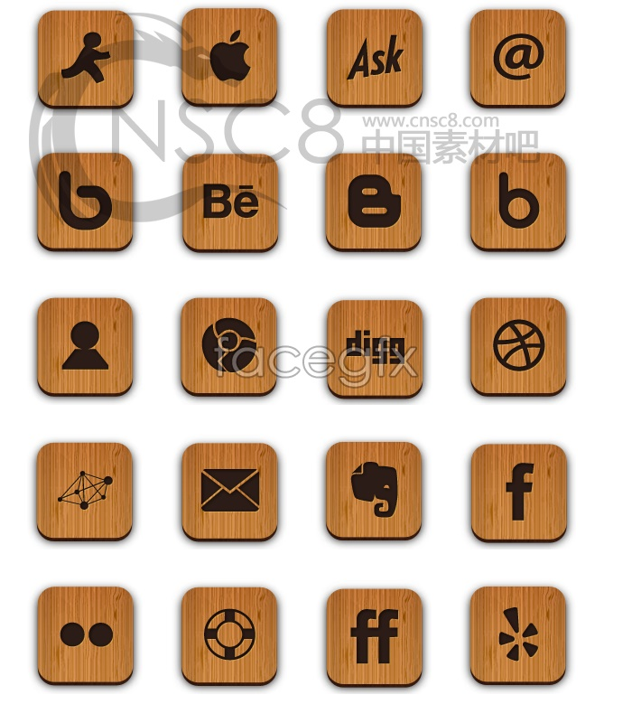 Wood corner desktop icons
