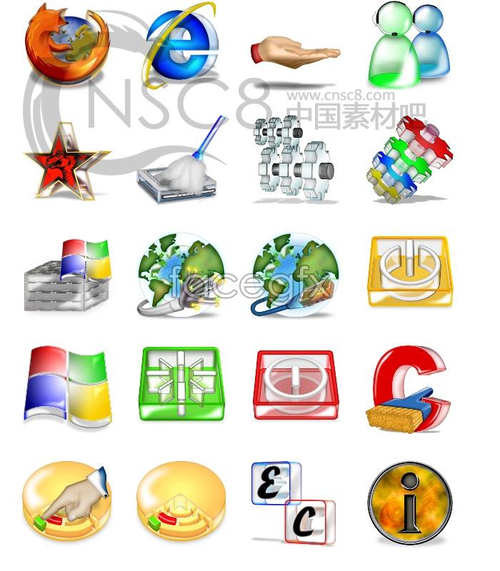 3D Crystal desktop icons