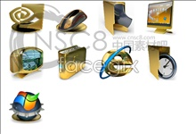3D Golden texture system icons