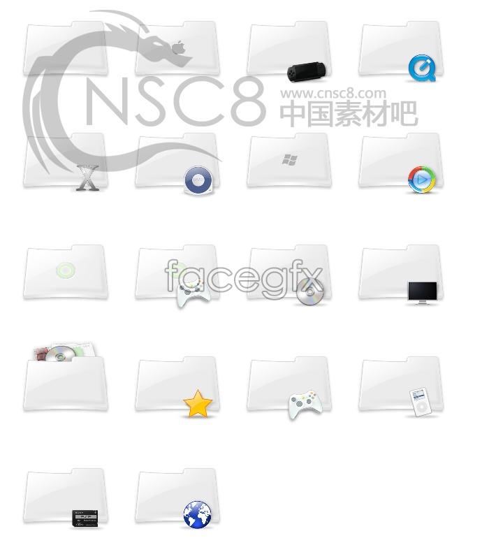 White folder icons