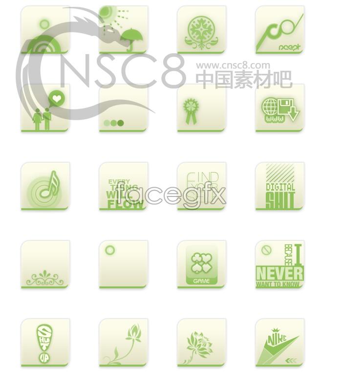 Green desktop icons