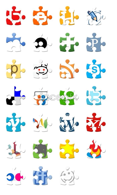 Jigsaw-style social media icons