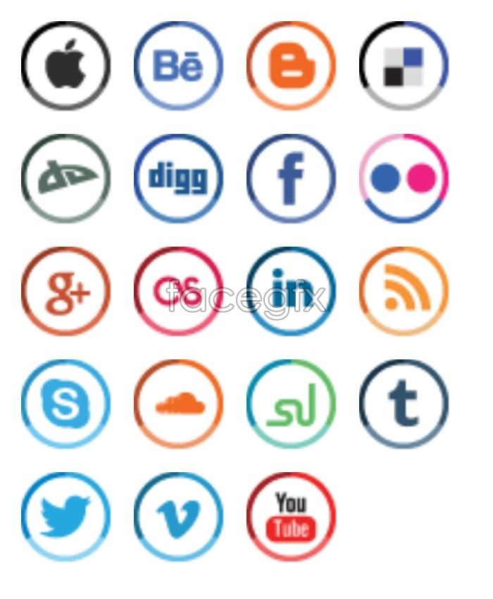 Social media design icons