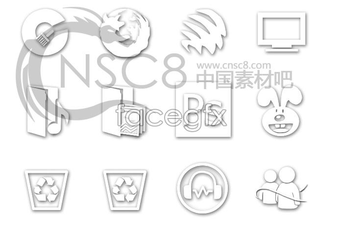 White stereo desktop icons