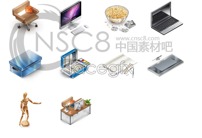 Office supplies, computer icons