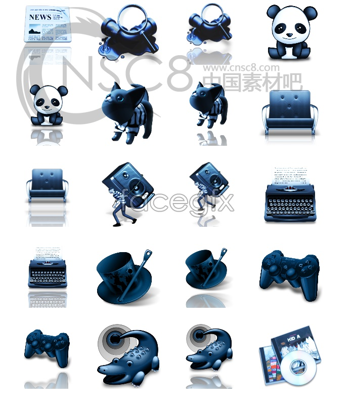 Personality blue desktop icons
