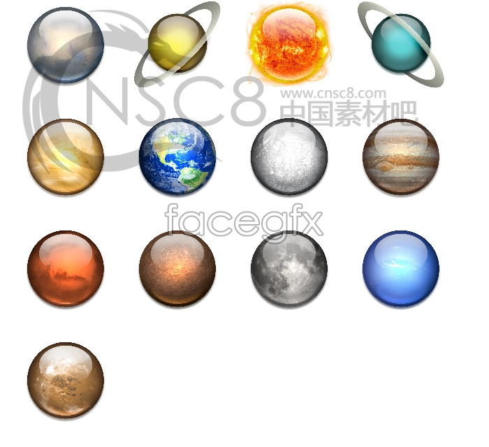 Space planet icons