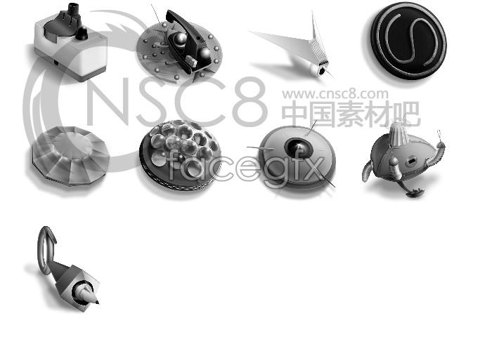 Grey technology desktop icons