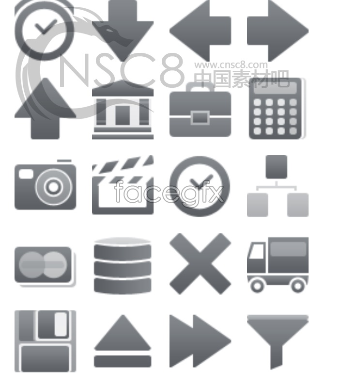 Small grey Web page icons