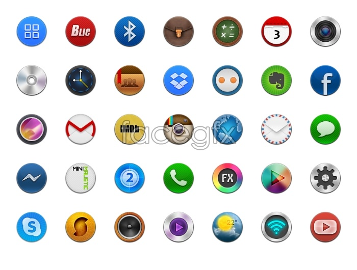 Mobile phone buttons design icons