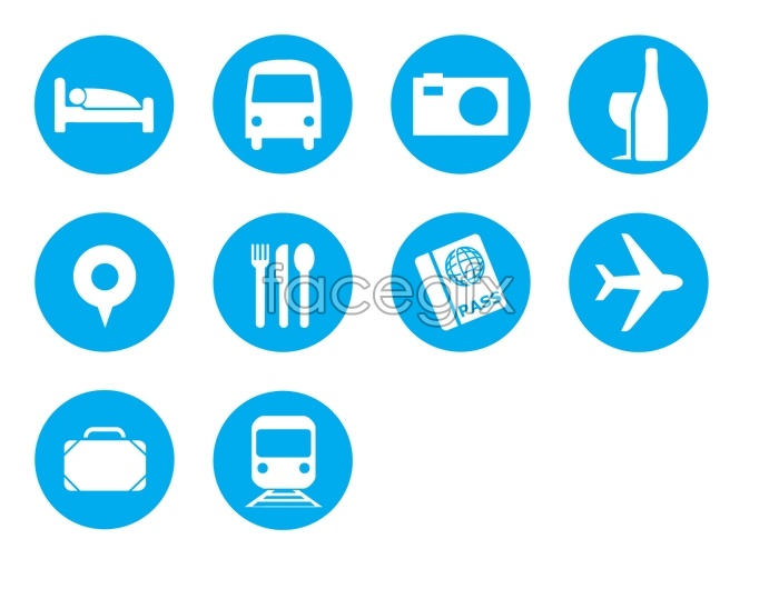 Blue travel tool icons