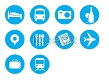 Blue travel tool icons