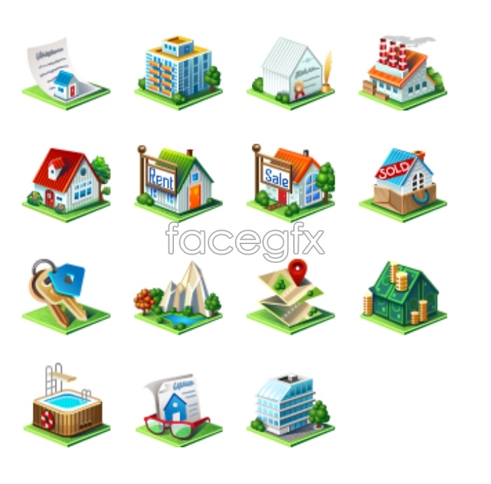 Real estate computer icons