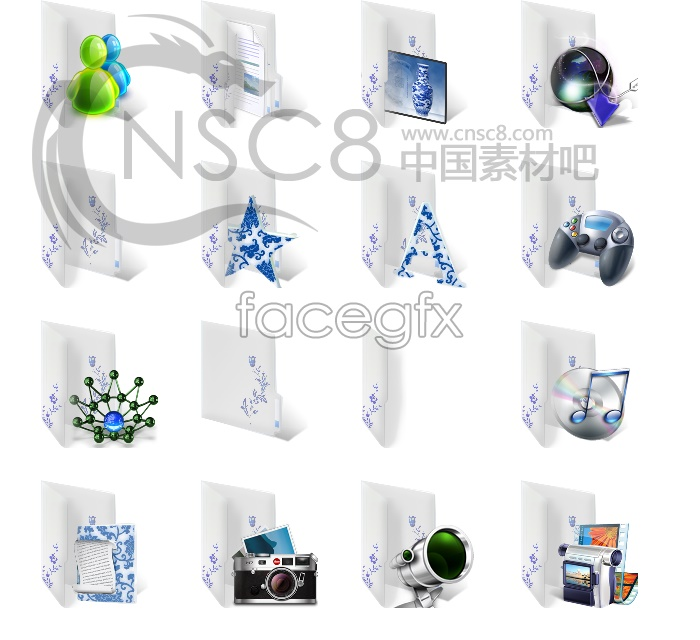 Chinese blue-and-white desktop icons