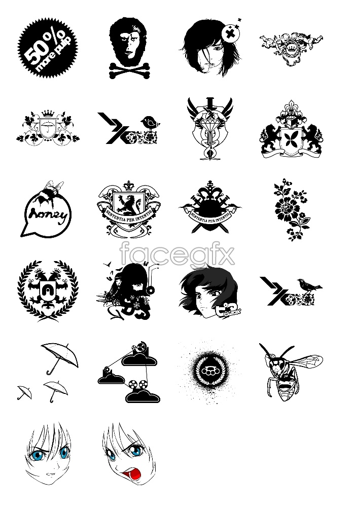 Flow pattern design icons