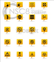 Yellow warning sign icons