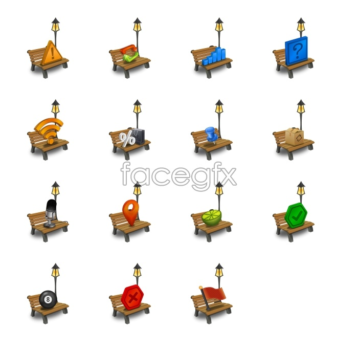 Chairs lamps style icons