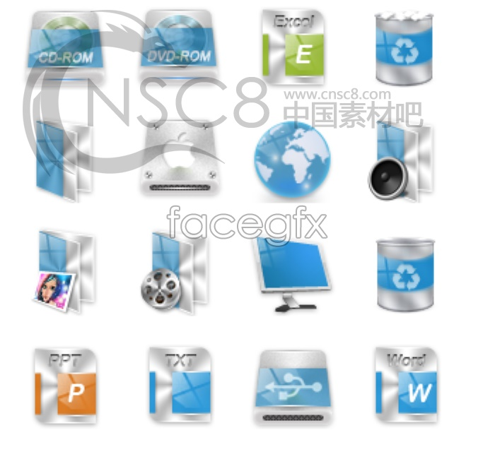 Small blue desktop icons