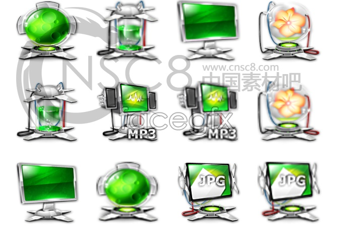 Green technology desktop icons