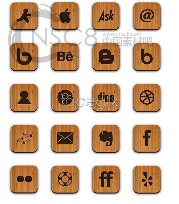 Wood computer desktop icons