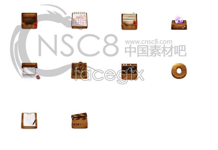 Wooden desktop icons