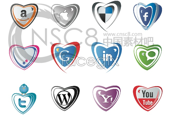 Heart-shaped LOGO design icons