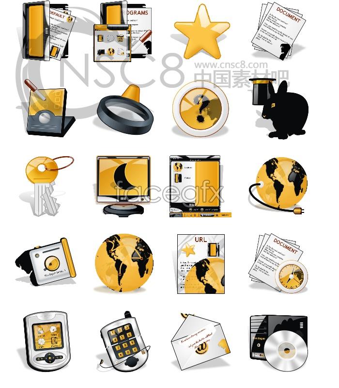 Yellow computer desktop icons