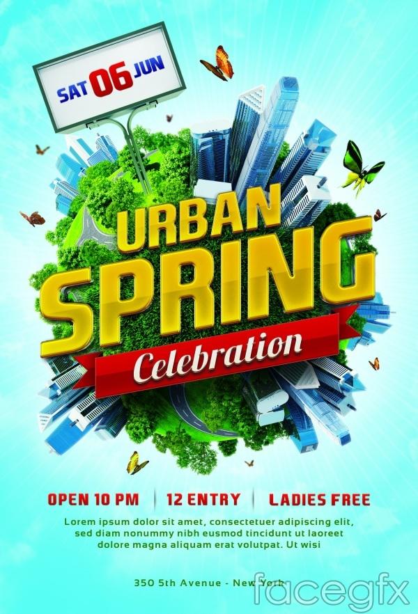 Spring poster design PSD   Free download