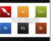 Variety of design software icon PSD