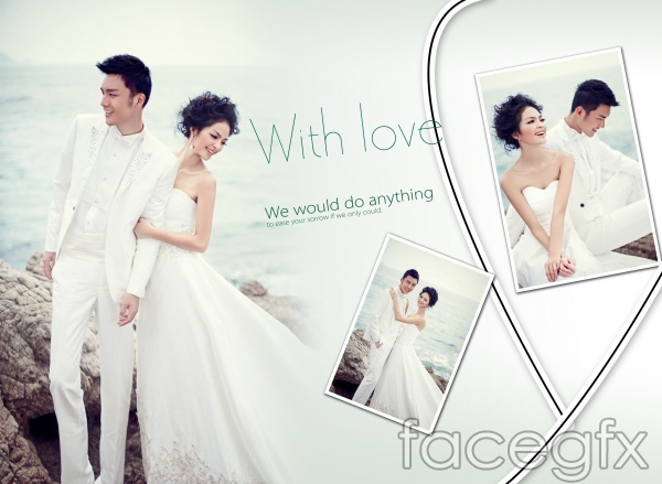 Wedding photo album design PSD