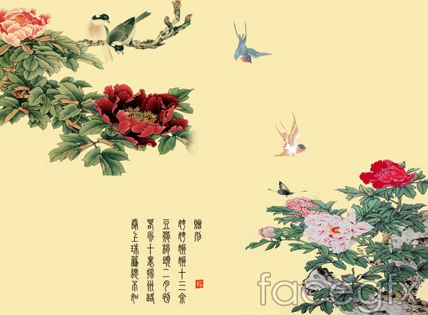 Move the meticulous Peony flower and bird pattern PSD