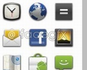 Android 2.0 Earth letter icon design clock button PSD