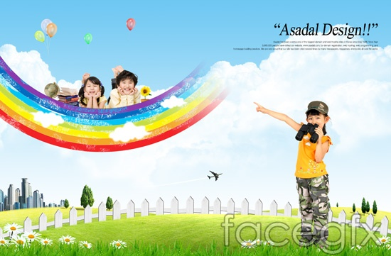 Rainbow dream Rainbow cloud grass child templates PSD | Free download