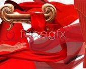 PSD red flowing silk and fabric