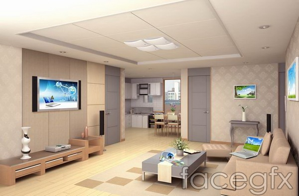 Living Room Furniture Templates design renderings of warm living room tv tea table sofa templates