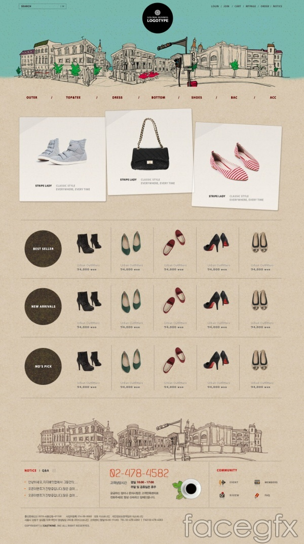 Shoe fashion shopping site PSD