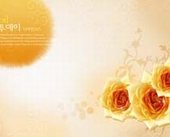 Korea flower champagne roses background hierarchy template PSD