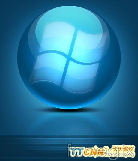 Cool blue textured logo PSD