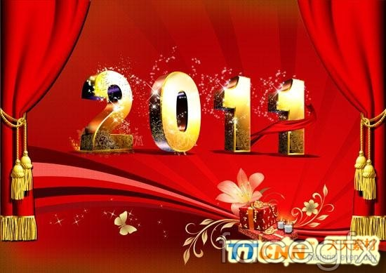 2011 new year gift  template PSD