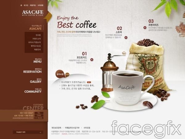 Brown Cafe Web design PSD