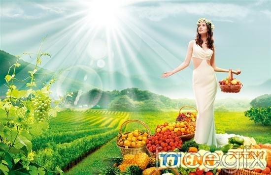 Fresh fruit girl PSD