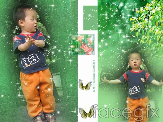 Happy baby butterfly green background template hierarchy diagram PSD