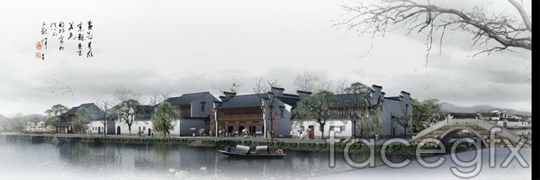 Jiangnan water town landscape renderings of ancient House  templates PSD